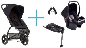 Mountain Buggy Mini 2017 black + Babyschale Protect + Adapter clip25V2 + CSbiso (isofix base) 001